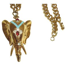 Rare Nettie Rosenstein Gold Tone Elephant Necklace - REDUCED