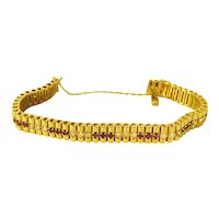 Rubies and Diamonds 14 kt  Tennis Style Bracelet - REDUCED