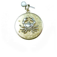 14k Gold Zodiak Cancer Charm July