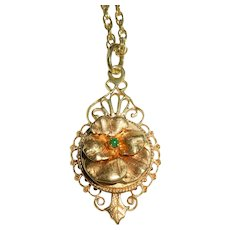 "14k Filigree Pendant 25"" Chain Estate"