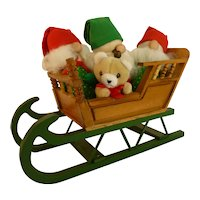 Vintage Santa's Elf Helpers in Sleigh