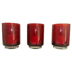 Set of 3 Ruby Red Hurricane Candle Holders