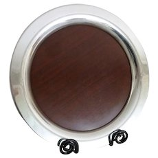 MCM Round Silver Plate Serving Tray