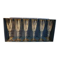 New Set of 6 Crystal Champagne Flutes
