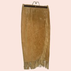 Suede Leather Wrap-around Skirt
