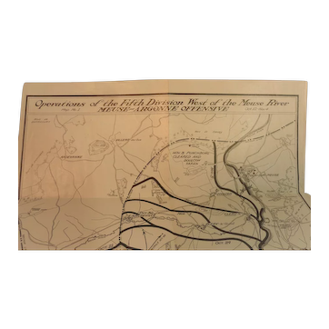 WWI Trench Map Ops 5th Div. Meuse River