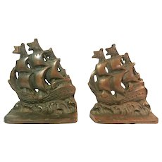 Possible Mayflower  Cast Bronze Bookends
