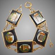 Antique Victorian 14K Yellow Gold-Backed Micromosaic Roman Ruins Bracelet