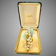 Vintage Ming's Hawaii, Signed, Jade & Pearl Brooch 14K Gold, Original Box