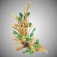 """Vintage Retro Solid 14K Gold Natural Jadeite Jade Spray Brooch Pin -3"""" x 1.5"""""""