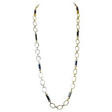 """Vintage 34"""" Long 14K Gold Oval Link Chain & Onyx Necklace, 73 Grams"""