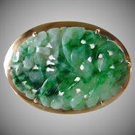 Vintage Art Deco Natural Carved Jadeite Jade Floral Design Brooch Set in 10K