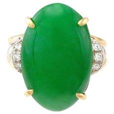 Art Deco Natural Large 12 Carat Jadeite Jade Cabochon & Diamond 14K Gold Ring, GIA Certified