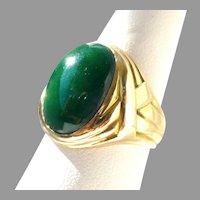 Vintage Natural Green Jadeite Jade Cabochon Ring 14K Men's or Unisex Ring, Size 7