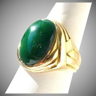 Vintage Natural Green Jadeite Jade Cabochon Ring 14K Men's or Unisex Ring, Size 7