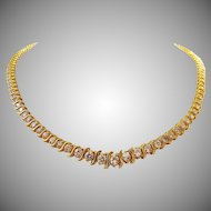 Dazzling 4 Carats Diamonds 14K Gold Riviera Tennis Necklace, Italy