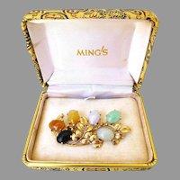 Ming's Hawaii Vintage Multi-Color Jadeite Jade Brooch in 14K Gold with Box