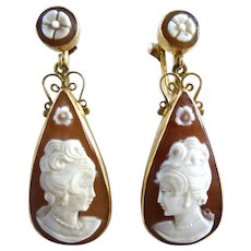 Vintage 14K Gold Torre Del Greco Italy Sardonyx Cameo Long Drop Earrings 1.5""