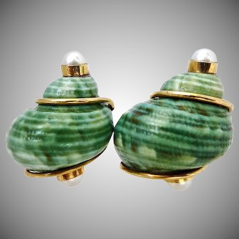 Seaman Schepps Green and White Shell and Pearl 14K Clip Earrings