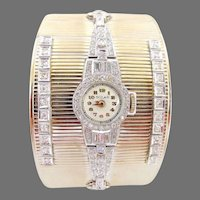 "Retro & Art Deco Diamond Platinum Watch & 14K White Gold Wide (1.5"") Cuff Bangle"