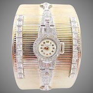 "Retro & Art Deco Diamond Platinum Watch & 14K White Gold Wide (1.5"") Cuff Bangle"