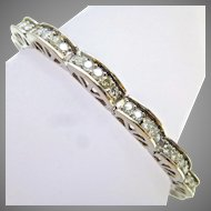Vintage 3 Carats Diamonds 14K White Gold Curve Scalloped Link Tennis Style Bracelet