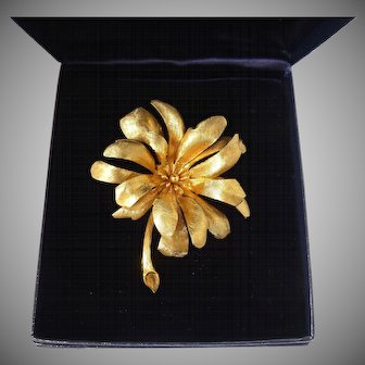 Vintage Tiffany & Co. 14K Gold Large Flower Pin Brooch, Germany, w/ Box