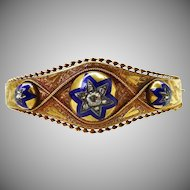 Antique Victorian Etruscan Revival Diamond Enamel 14K to 15K Gold Bangle