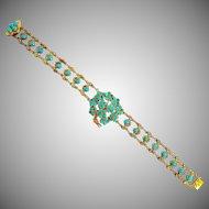 Antique Art Nouveau 14K Gold Turquoise Forget-Me-Not Flower Bracelet