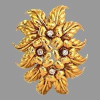 Vintage Tiffany & Co. 18k Diamond Floral Spray Brooch, Italy, w/ Box