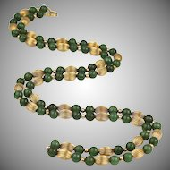 """Vintage Jade Beads & 14K Gold Beads & Chain Necklace, 31"""" Long"""