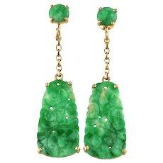 Natural Jadeite Jade Vintage Art Deco Carved Drop Dangle Earrings 14K Gold