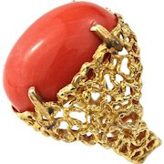 Vintage 18K Gold Large Natural Coral Modernist Openwork Free Form Ring, 1960s