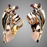 "Vintage Retro Large 14K Rose & Yellow Gold Ruby Diamond Earrings, 16.82 grams, 1 ½"" long x 3/4"" wide"