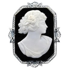 Edwardian 14K White Gold Onyx & Shell Cameo Brooch, Circa 1900s