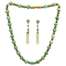 Antique Victorian 14K Gold Bead & Natural Jadeite Jade Bead Necklace & Drop Earrings w/ Seed Pearls