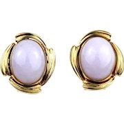 Vintage 14K Gold Natural Lavender Jadeite Jade Cabochon Clip Earrings