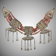 Antique Lazem Yemenite Silver Talisman Coral Ethnic Tribal Multistrand Necklace