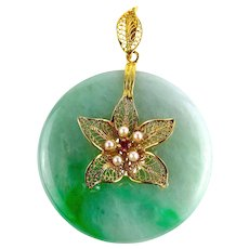 Natural Jadeite Jade Large Bi Disc Donut and 14K Gold Filigree Pearls Ruby Pendant