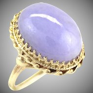 GIA Certified Large 23 Carat Natural Untreated Jadeite Jade Cabochon Purple Lavender 14K Gold Ring