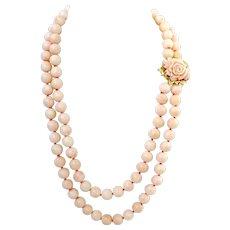 """Vintage 18K Gold Double Strand Large Blush Angel Skin Carved Coral Rose Bead Necklace, 23-1/4"""" L, 187 Grams"""