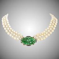 Art Deco Carved Natural Jadeite Jade 14K Gold Enamel Pendant & Akoya Three Strand Pearl Necklace