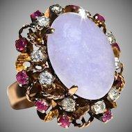 Vintage Retro Modernist Large Natural Lavender Jadeite Jade Diamond Ruby 14K Rose Gold Cocktail Ring