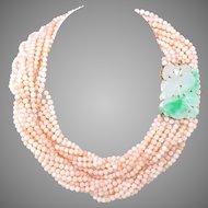 """Vintage 18K Gold Natural Jadeite Jade & Angel Skin Blush Pink Coral 10 Strand Necklace, 38.5"""" L, 289 Grams"""