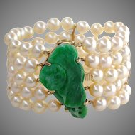 """Art Deco Qing Dynasty Carved Natural Jadeite Jade & Cultured Pearl 14K Gold 1.5"""" Wide Bracelet"""
