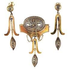 Antique Victorian 14K Gold Archeological Revival Taille D'Epargne Enamel Suite Drop Earrings & Brooch