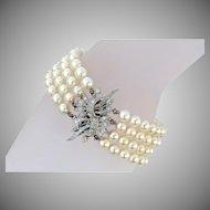 "Vintage 1950s Multi-strand Akoya Pearl & Diamond Bracelet 14K White Gold, 7.5"" L x 1"" W"