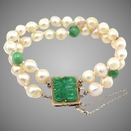 Antique 14K Gold Natural Jadeite Jade & Double Strand Pearl Bracelet