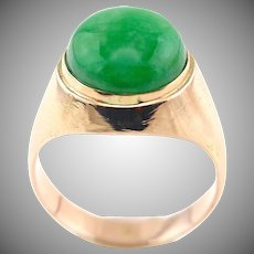 Natural Apple Green Jadeite Jade Cabochon 14K Gold Unisex Ring, Size 8.5