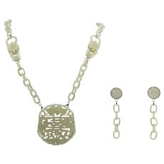 Antique Chinese Qing Dynasty Carved Nephrite Mutton Fat Jade Set Silver Pendant Necklace & Earrings